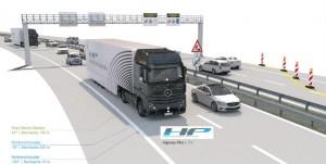 Première mondiale sur voie publique du Mercedes-Benz Actros doté de la fonction Highway Pilot